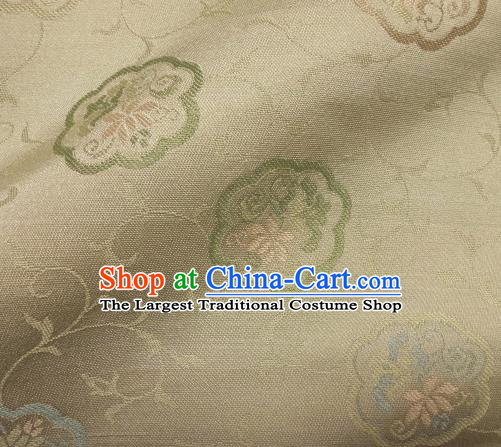 Asian Traditional Kimono Classical Lotus Pattern White Damask Brocade Fabric Japanese Kyoto Tapestry Satin Silk Material