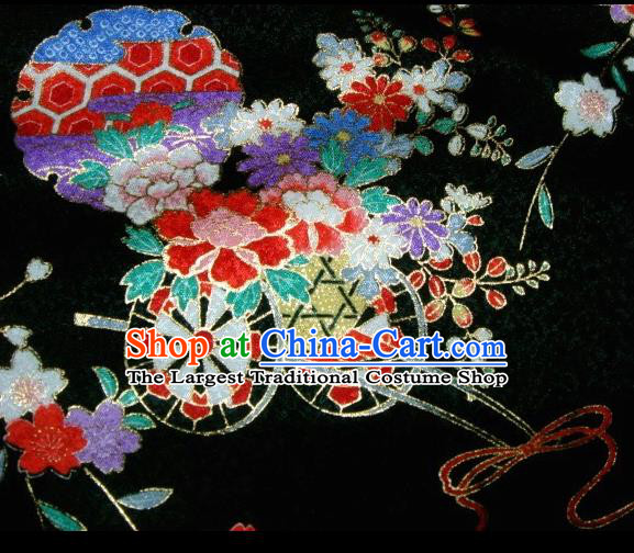 Asian Traditional Kimono Classical Flowers Gharry Pattern Black Brocade Tapestry Satin Fabric Japanese Kyoto Silk Material
