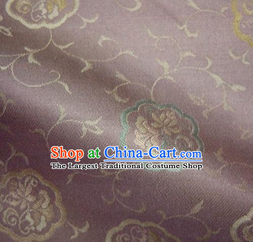 Asian Traditional Kyoto Kimono Classical Lotus Pattern Purple Damask Brocade Fabric Japanese Tapestry Satin Silk Material