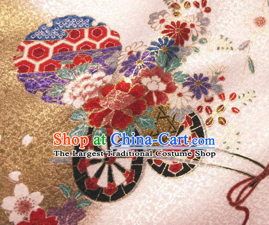 Asian Traditional Kimono Classical Flowers Gharry Pattern Pink Brocade Tapestry Satin Fabric Japanese Kyoto Silk Material