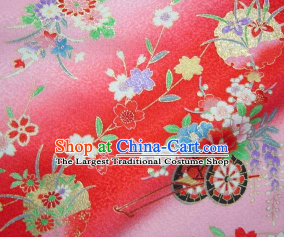 Asian Traditional Kimono Classical Flowers Gharry Pattern Red Brocade Tapestry Satin Fabric Japanese Kyoto Silk Material