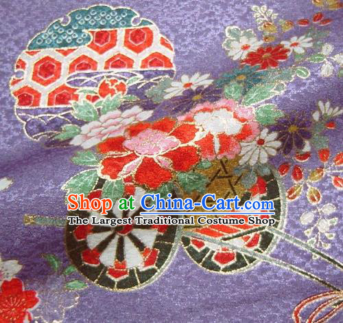 Asian Traditional Kimono Classical Flowers Gharry Pattern Purple Brocade Tapestry Satin Fabric Japanese Kyoto Silk Material