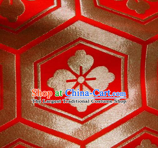 Asian Traditional Kyoto Kimono Classical Tortoise Shell Pattern Red Damask Brocade Fabric Japanese Tapestry Satin Silk Material