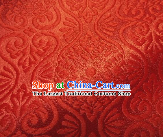 Asian Traditional Kyoto Kimono Brocade Classical Pattern Light Red Damask Fabric Japanese Tapestry Satin Silk Material