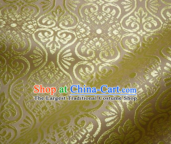 Asian Traditional Kyoto Kimono Brocade Classical Pattern Yellow Damask Fabric Japanese Tapestry Satin Silk Material