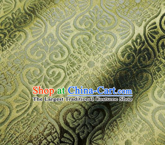 Asian Traditional Kyoto Kimono Brocade Classical Pattern Green Damask Fabric Japanese Tapestry Satin Silk Material