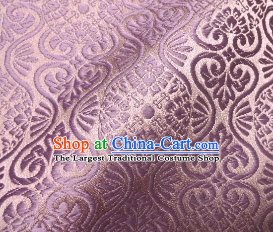 Asian Traditional Kyoto Kimono Brocade Classical Pattern Violet Damask Fabric Japanese Tapestry Satin Silk Material