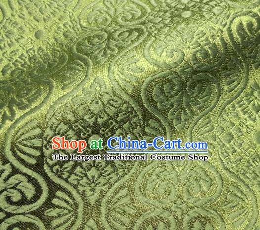 Asian Traditional Kyoto Kimono Brocade Classical Pattern Matcha Green Damask Fabric Japanese Tapestry Satin Silk Material