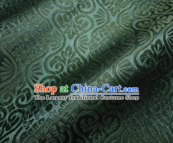 Asian Traditional Kyoto Kimono Brocade Classical Pattern Atrovirens Damask Fabric Japanese Tapestry Satin Silk Material
