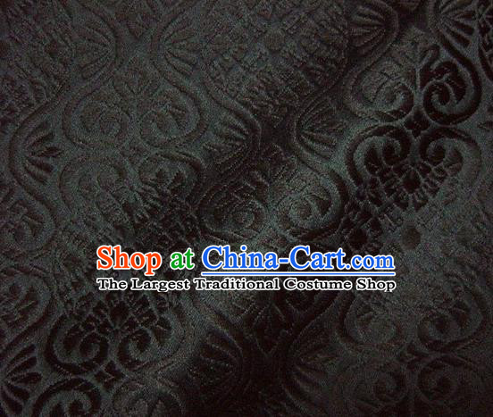 Asian Traditional Kyoto Kimono Brocade Classical Pattern Black Damask Fabric Japanese Tapestry Satin Silk Material