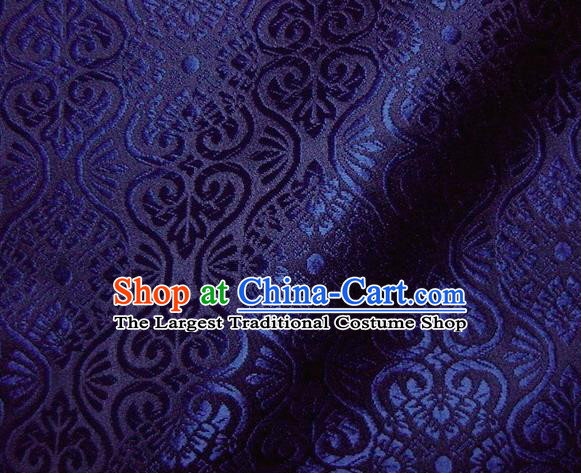 Asian Traditional Kyoto Kimono Brocade Classical Pattern Royalblue Damask Fabric Japanese Tapestry Satin Silk Material