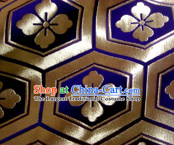 Asian Traditional Kyoto Kimono Classical Tortoise Shell Pattern Purple Damask Brocade Fabric Japanese Tapestry Satin Silk Material
