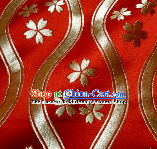 Asian Traditional Kyoto Kimono Classical Sakura Pattern Red Damask Brocade Fabric Japanese Tapestry Satin Silk Material