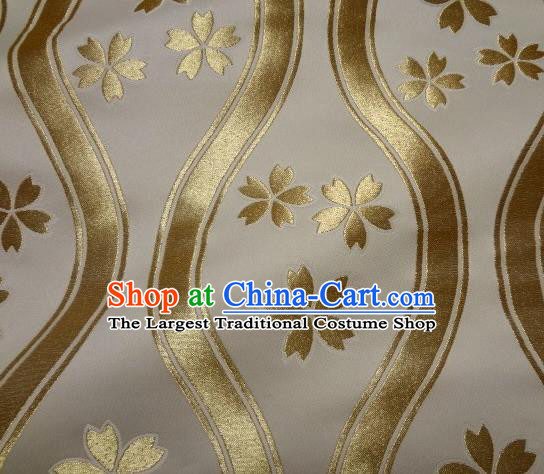 Asian Traditional Kyoto Kimono Classical Sakura Pattern White Damask Brocade Fabric Japanese Tapestry Satin Silk Material