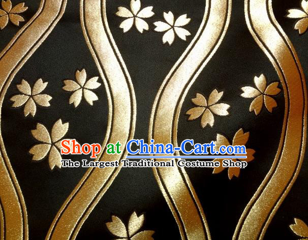 Asian Traditional Kyoto Kimono Classical Sakura Pattern Black Damask Brocade Fabric Japanese Tapestry Satin Silk Material