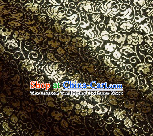Asian Traditional Kyoto Kimono Classical Pattern Black Damask Brocade Fabric Japanese Tapestry Satin Silk Material