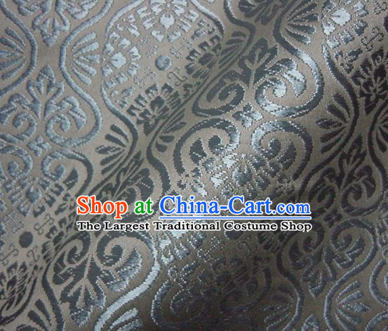 Asian Traditional Kyoto Kimono Brocade Classical Pattern Grey Damask Fabric Japanese Tapestry Satin Silk Material