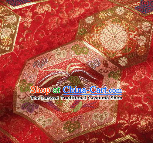 Asian Traditional Kyoto Kimono Red Brocade Classical Phoenix Pattern Damask Fabric Japanese Tapestry Satin Silk Material