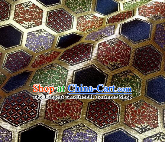 Asian Traditional Kyoto Kimono Brocade Classical Hexagon Pattern Damask Fabric Japanese Tapestry Satin Silk Material
