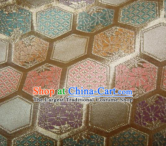 Asian Traditional Kyoto Kimono Golden Brocade Classical Hexagon Pattern Damask Fabric Japanese Tapestry Satin Silk Material