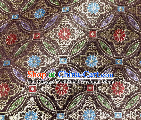 Asian Traditional Kyoto Kimono Brown Brocade Classical Qibao Flowers Pattern Damask Fabric Japanese Tapestry Satin Silk Material