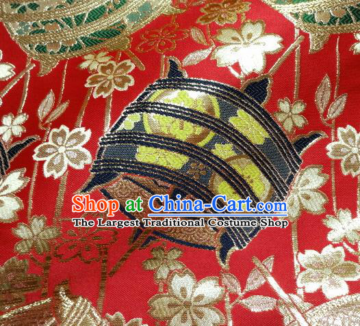 Asian Traditional Kyoto Kimono Brocade Classical Pattern Red Damask Fabric Japanese Tapestry Satin Silk Material