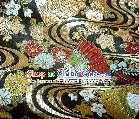 Asian Traditional Japanese Kimono Black Brocade Classical Fan Pattern Damask Fabric Tapestry Satin Silk Material