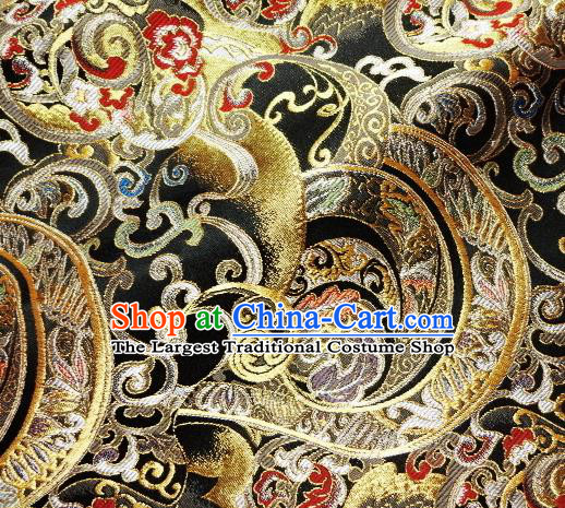 Asian Traditional Black Brocade Japanese Kimono Classical Pattern Damask Fabric Tapestry Satin Silk Material