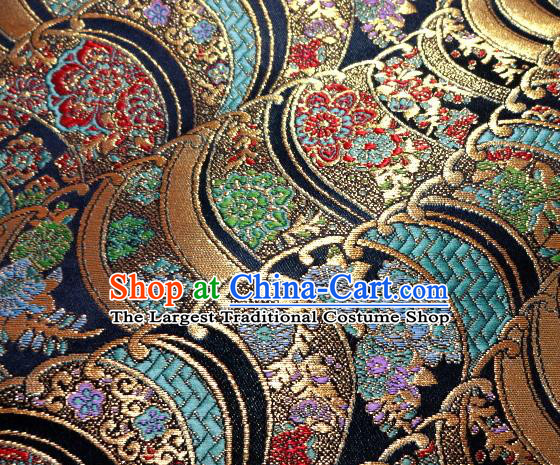 Asian Traditional Damask Brocade Fabric Japanese Kimono Classical Wave Pattern Tapestry Satin Silk Material