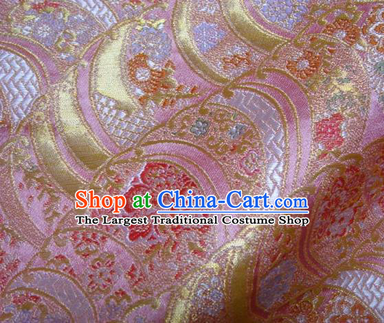 Asian Traditional Pink Damask Brocade Fabric Japanese Kimono Classical Wave Pattern Tapestry Satin Silk Material
