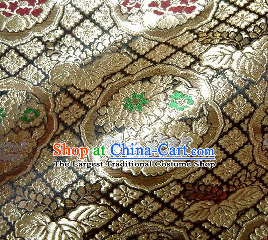 Asian Traditional Brown Damask Brocade Fabric Japanese Kimono Classical Chrysanthemum Pattern Tapestry Satin Silk Material