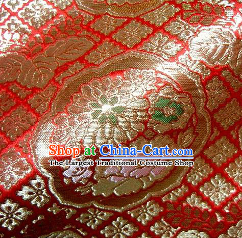 Asian Traditional Red Damask Brocade Fabric Japanese Kimono Classical Chrysanthemum Pattern Tapestry Satin Silk Material
