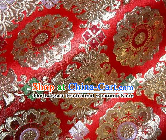 Asian Traditional Classical Pattern Red Damask Brocade Fabric Japanese Kimono Tapestry Satin Silk Material