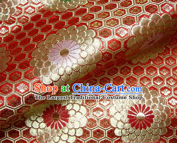 Asian Traditional Classical Chrysanthemum Pattern Damask Brocade Fabric Japanese Kimono Tapestry Satin Silk Material