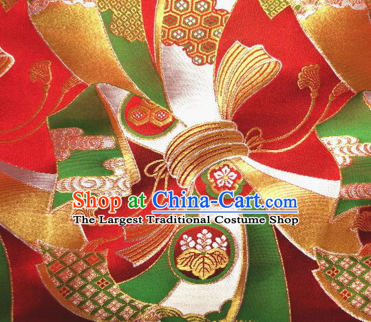Asian Traditional Baldachin Classical Knot Pattern Red Brocade Fabric Japanese Kimono Tapestry Satin Silk Material