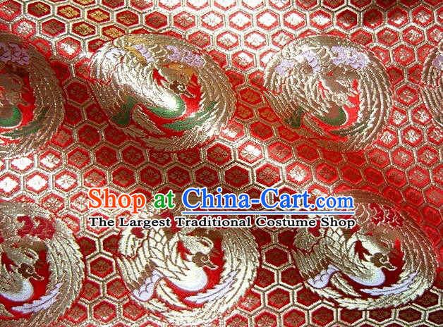 Asian Traditional Baldachin Classical Round Phoenix Pattern Red Brocade Fabric Japanese Kimono Tapestry Satin Silk Material