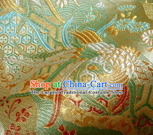 Asian Japanese Traditional Brocade Classical Phoenix Pattern Green Baldachin Fabric Kimono Tapestry Satin Silk Material
