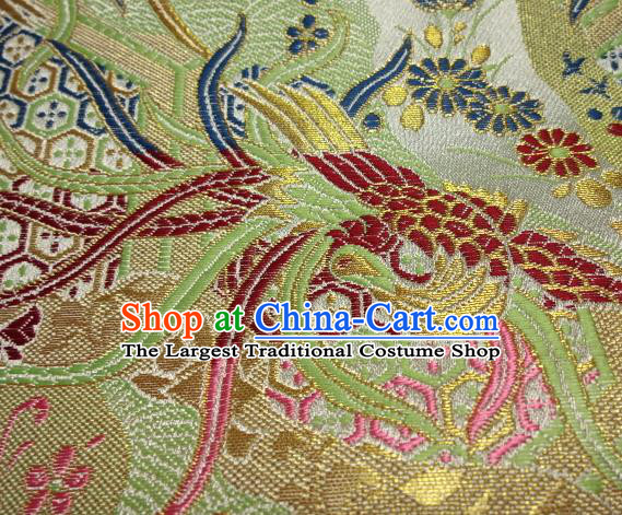 Asian Japanese Traditional Brocade Classical Colorful Phoenix Pattern Green Baldachin Fabric Kimono Tapestry Satin Silk Material