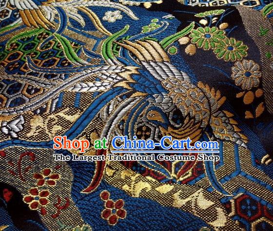 Asian Japanese Traditional Brocade Classical Colorful Phoenix Pattern Navy Baldachin Fabric Kimono Tapestry Satin Silk Material