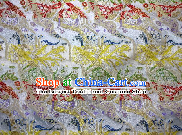 Asian Japanese Traditional Brocade Classical Colorful Phoenix Pattern White Baldachin Fabric Kimono Tapestry Satin Silk Material