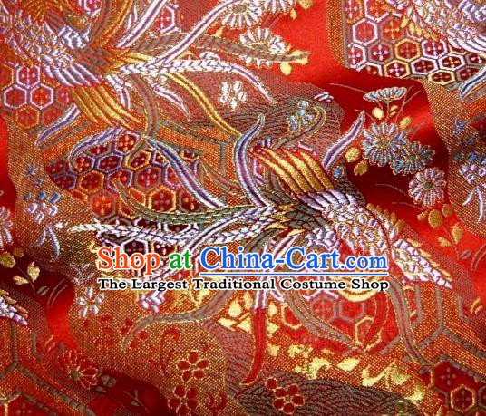 Asian Japanese Traditional Brocade Classical Colorful Phoenix Pattern Red Baldachin Fabric Kimono Tapestry Satin Silk Material