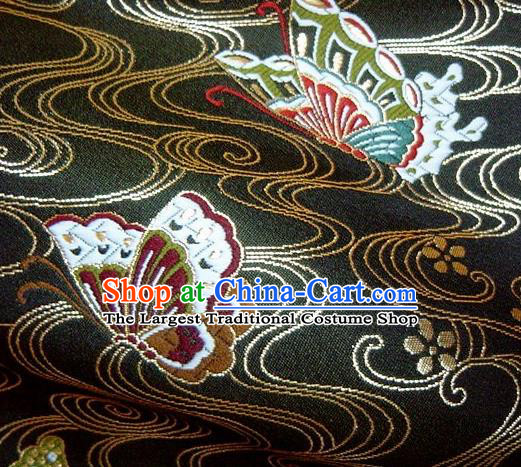 Asian Japanese Traditional Brocade Classical Butterfly Pattern Black Baldachin Fabric Kimono Tapestry Satin Silk Material