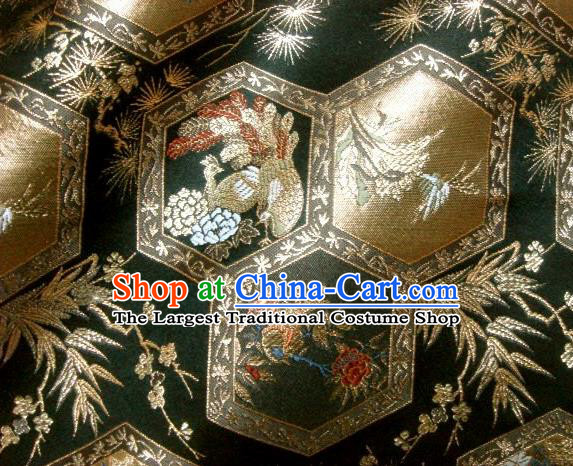 Asian Japanese Traditional Brocade Classical Peacock Pattern Black Baldachin Fabric Kimono Tapestry Satin Silk Material