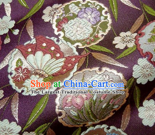 Asian Japanese Traditional Brocade Classical Bamboo Leaf Pattern Purple Baldachin Fabric Kimono Tapestry Satin Silk Material