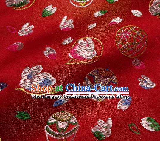 Asian Japanese Traditional Brocade Classical Rabbit Pattern Red Baldachin Fabric Kimono Tapestry Satin Silk Material