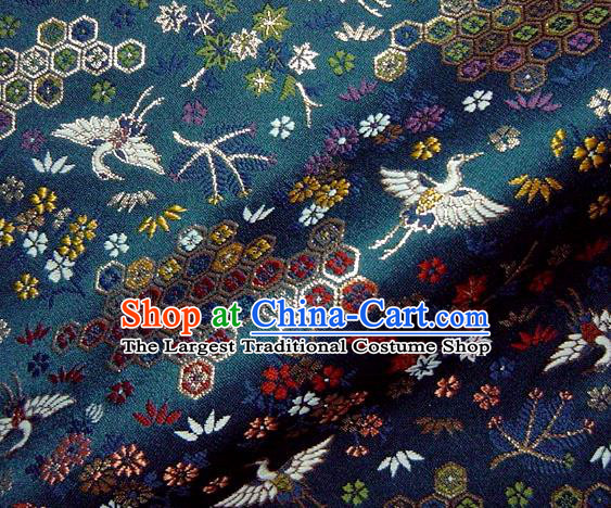 Asian Japanese Traditional Brocade Classical Cranes Pattern Navy Baldachin Fabric Kimono Tapestry Satin Silk Material