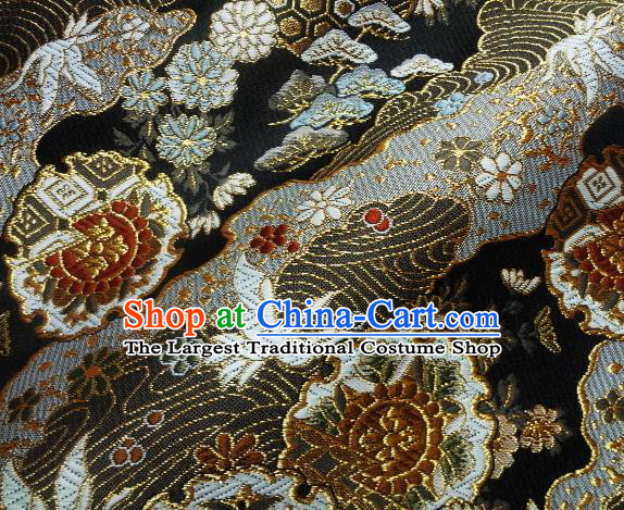 Asian Japanese Traditional Brocade Classical Cranes Pattern Black Baldachin Fabric Kimono Tapestry Satin Silk Material