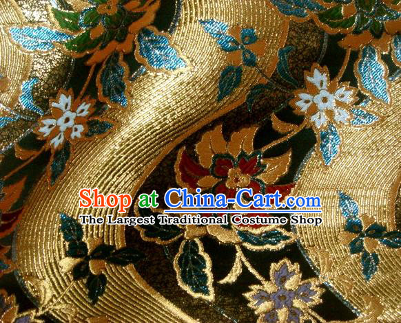 Asian Japanese Traditional Brocade Classical Hothouse Flower Pattern Baldachin Fabric Kimono Tapestry Satin Silk Material