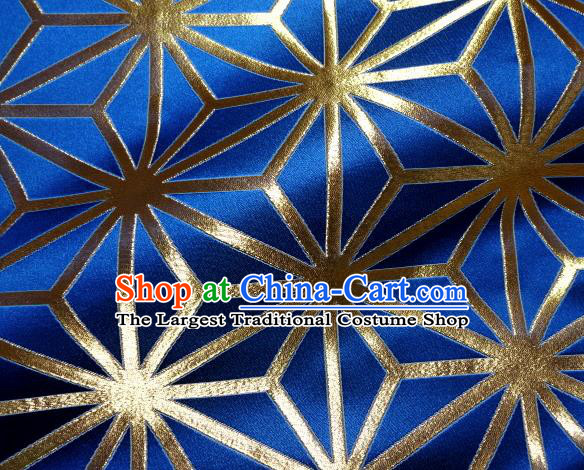 Asian Japanese Traditional Royalblue Brocade Classical Pattern Baldachin Fabric Kimono Tapestry Satin Silk Material