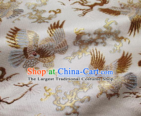 Asian Traditional Japanese Kimono Classical Eagle Pattern White Tapestry Satin Brocade Fabric Baldachin Silk Material